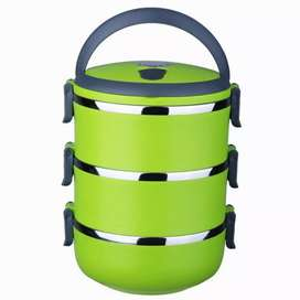 3 Layer Stainless Steel Round Lunchbox
