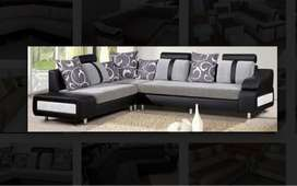 new designer grey and black L shape sofa set