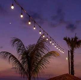 Kabel lampu gantung taman cafe