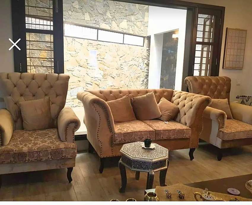 New Classic sofa set Seven Seater in imported shaineel fabric.