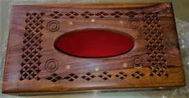 Tissue Box With Copper Etching Hand Crafted (Wooden Made)