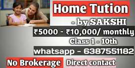 Home Tution for class 1 to 10th by sakshi