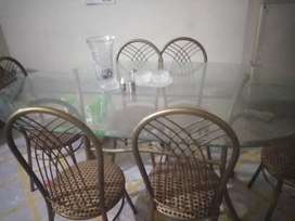Dining table with 6 iron chairs