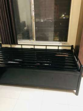 Metal single with storage  hydraulic bed..