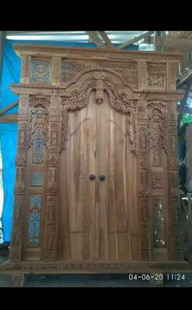 Pintu Gebyok Ukir Kayu Jati Sebakan