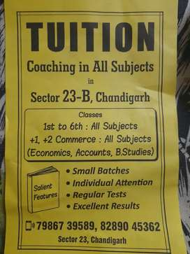 Tution classes for +1,+2 commerce and 1st to 6th all subjects