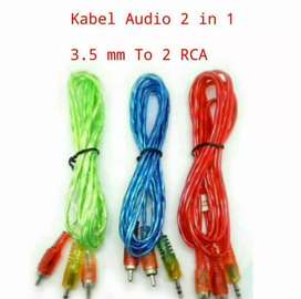 Kabel Aux 2 in 1 Jack Audio 150 cm, RCA 2 in1 Mini Stereo Male 3,5mm