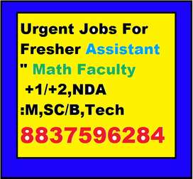 Urgent Jobs For Fresher Assistant Math Faculty +1/+2,NDA