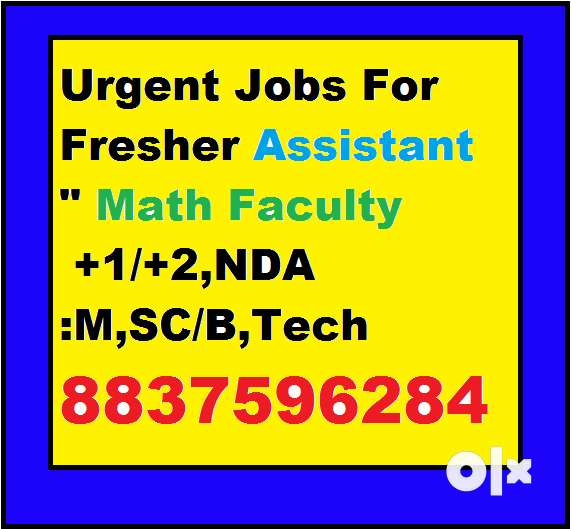 Urgent Jobs For Fresher Assistant Math Faculty +1/+2,NDA 0