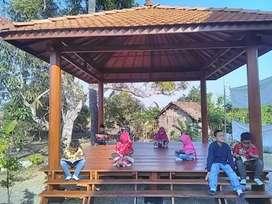 Gazebo Taman ukuran 2mx4m bahan kayu kelapa