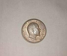 Edward VII copper quarter Anna coin