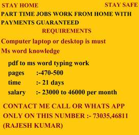 Online Money in Home Based monthly Typing works.