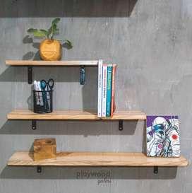 Satu Set Rak Dinding Rak Foto Rak Buku Industrial 185ribu dapat 3pcs