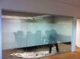 Konsep kaca gedung kantor dg stiker sanblas&kaca film