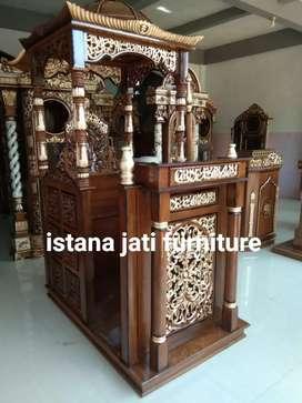Mimbar masjid mihrob kubah kayu jati