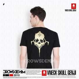 V Neck Crows Zero - Genji Skull   Kaos Hits   Crowsdenim SKULL