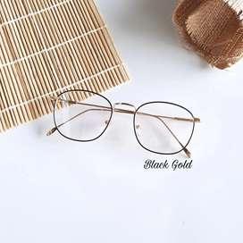 Kacamata minus frame gold-black kotak besi full ada perr di tangkai
