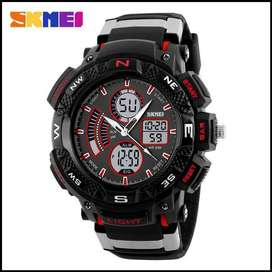 Jam Tangan Pria Digital Analog SKMEI 1211 Red Water Resistant 50M.