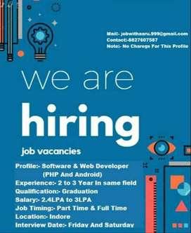Urgent Hiring for Web Developer & PHP Developer...