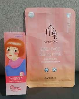 Murah - Set perawatan wajah dan tangan - handcream n masker asli Korea