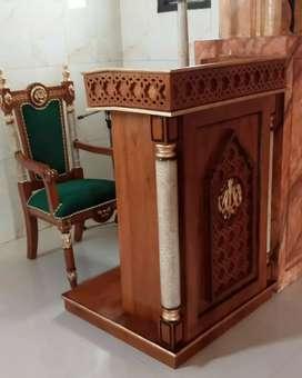Mimbar masjid plus kursi material kayu jati AJF012