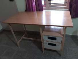Study table iron body  with plastic chair