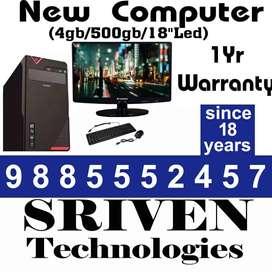 "Daily Deal New Computer - 4gb/500 GB/18"" Led sriven technologies VIJA"