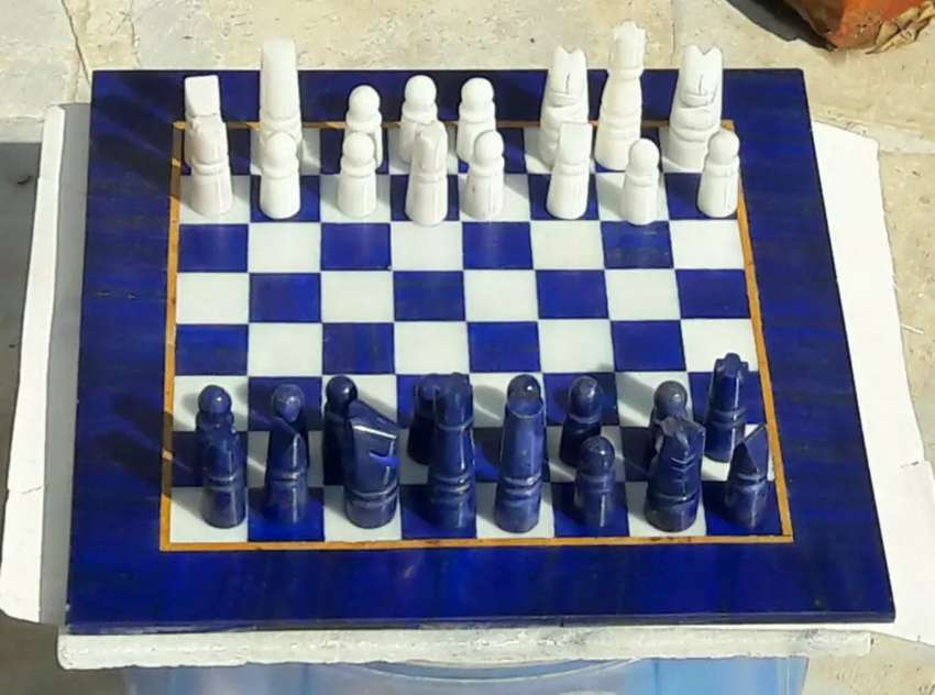 Hand Made Lapis Lazuli & Marble Chess board From Afghanistan