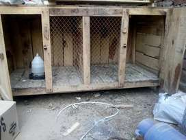 A hen cage made of wood