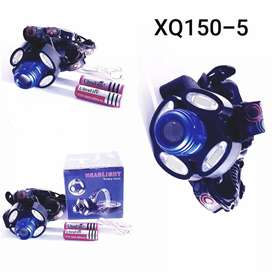 Senter kepala 5 LED bisa zoom jauh dekat lengkap dgn baterai cas n usb