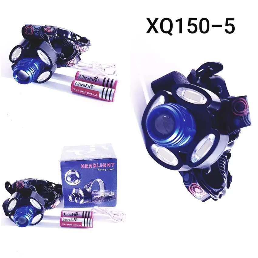 Senter kepala 5 LED bisa zoom jauh dekat lengkap dgn baterai cas n usb 0