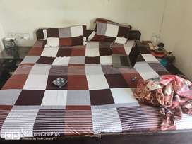 Double bed(without storage)with 2 Side Tables & Sleepwell Mattress