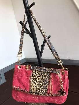 Tas Selempang LV Leopard Pink