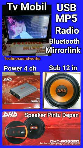 DHD Paket Full sound + tv Mobil mp5 mirror link tape kaca double din