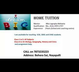 Home Tution for CBSE,ICSE CHSE and Students.