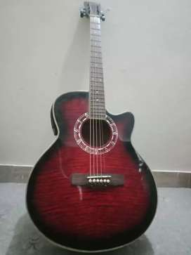 Semi Accoustic Guitar with Leather Bag and Belt