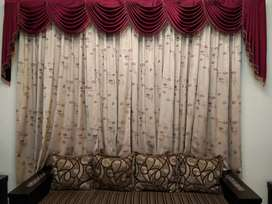 Mehroon Curtain frills with frill rod