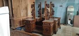 Meja rias + cermin rias, kayu jati, finis natural, free ongkir