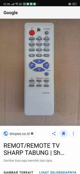 Remote tv sharp GA368SA
