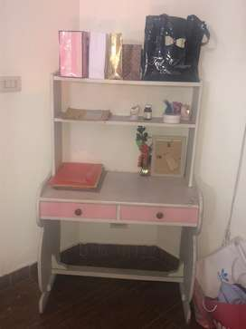Book shelf painted beautifully in white and pink with orginal wodden!!