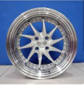 Cicil Velg Mobil Jazz Altis DP 10% Ring 15 HSR TIAKUR H4X100 Silver