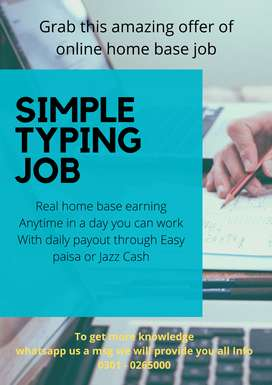 Grab this amazing offer of online home base job – Simple typing job