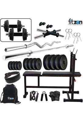Home gym (60kg combo) with gym tiles & 3in 1 bench. brand - FITZON