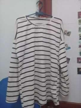 Baju garis hitam putih fit XL