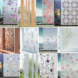 Frosted floral window glass paper