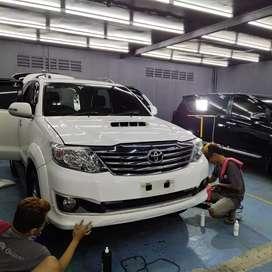 Nano Ceramic Coating, Kaca Film, Lampu HID LED, Salon Mobil Semarang