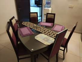 6 Seater Wood Dining Table with Glass Top