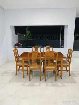 Meja makan jati dgn kursi 6 buah