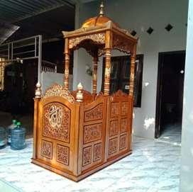 Mimbar masjid dakwa kayu jati ajf206