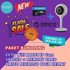 CCTV Wifi BARDI IP Cam 1080HD + MEMORY CARD ORICO MICROSD 64GB HEMAT